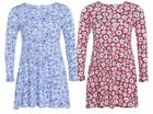 New Ladies Plus Size Daisy Floral Mini Swing Dress Tunic Tops 14-28