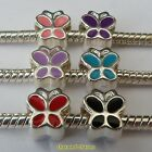 1 or 4 x Silver Plated Enamel Butterfly Charm Beads Fits European Charm Bracelet
