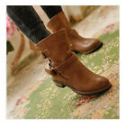Women Vintage Fashion Martin Boots Buckle Flat Mid Calf  Motorcycle Boots XWX218