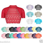 Kids Bolero Shrug Crochet Knitted Cardigan Girls Top 2-13 Years