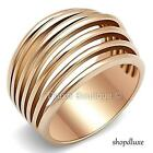 WOMEN'S ROSE GOLD PLATED STAINLESS STEEL WIDE BAND DOME FASHION RING SIZE 5-10
