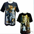 Womens Ladies Cat Cats Kittens Cute Animal  T Shirt  Double Printed Top