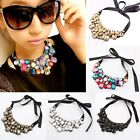 New Crystal Black Ribbon Chain Bib Collar Statement Necklace Jewelry 5 Colors