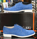 Mens Lacuzzo Suede Stylish Lace Up Designer Dress Casual Brogue Shoes in Blue