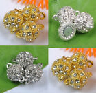 Wholesale lots golden silver gray Plated crystal Rhinestone Ball Magnetic Clasps