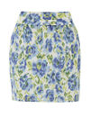 Be Beau Lined 100% Cotton Summer Tulip Mini Skirt Blue Green Floral UK 8-18