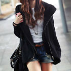 Fashion Loose Batwing Sleeve Sweatshirt Double Zipper Hooded Cardigan Women Coat
