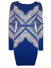 Ex Topshop Electric BLUE Molded Lace Print Bodycon Dress - Size 6 to 12