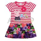 Girls Baby Kids Peppa Pig Striped Flower Floral T-Shirt Top Dress Skirt Costume