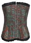 BNWT Baroque Floral Flock Green Red Vintage Emo Goth Corset Top Size UK 8-16