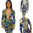Women's Deep V Sexy Printing Bandage Bodycon Cocktail Party Clubwear Dress