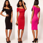 Women's Sexy V-Neck Off Shoulder Short Sleeve Cocktail Evening Party Dress XS~L