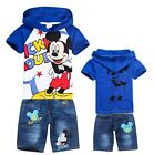 Kids Boys Girls Mickey Mouse Short Sleeve T-Shirt+Jeans Shorts Baby Sets 2-8Yrs