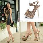 Womens Sexy Leopard Bow Tie Slingback Stiletto Heel Sandals Court Shoes 9236-6