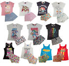 Primark Ladies Summer Pyjamas Vest Shorts Pyjama Set Retro Novelty New