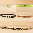 New Womens Girls Fashion Bow Candy Color Leopard Thin Skinny PU Leather Belt