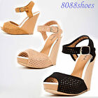 Women's Fashion Buckle Sexy Open Toe Platform Wedge Heel Sandal Shoes Size 6 -10
