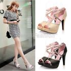Womens Ladies Peep Toe Cross Strap Platform High Heel Court Shoes Plus Size Q119