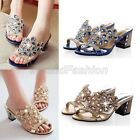Real Leather Glitter Diamante Block Heel Mules Slipper Sandals Shoes Plus Size