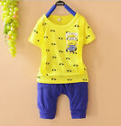 Despicable Me Minions Kids Boys Girls Baby T-Shirts+Harem Short Suits Set 1-5Yrs