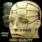 4 PAIR LOT SPRING HINGE METAL READING GLASSES CLEAR LENS TEMPLE MEN WOMEN PACK A