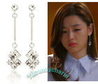 Korean TV You who came from the stars Jun Ji-hyun Square Gem Big Drop Earrings