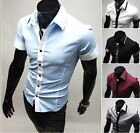 New Hot Mens Short Casual Slim Fit Luxury Stylish Dress Shirts 5 Colors 4 Size