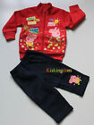 BNWT Peppa Pig Fleece Hoodie tracksuit Outfit Size 2-6