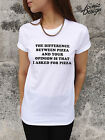 * The Difference Between Pizza And Your Opinion Funny T-shirt Top Slogan Tumblr*