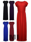 New Womens Ladies Cap Sleeve Stretch Plain Bodycon Maxi Full Length Dress 8-26