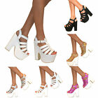 WOMENS BLOCK WEDGE PLATFORM CHUNKY PEEP TOE HIGH HEEL ANKLE STRAP SHOES SANDALS