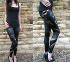 Wet Look Sexy Ripped Leggings Black Size 6-16