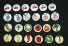 CUTE FRUIT/VEGETABLE FABRIC COVERED BUTTONS available in 25mm size