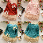 Baby Girls Kids Toddlers Long Sleeve Lace Bow Princess Dress One-piece Skirts HE