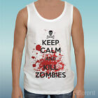 "CANOTTA T-SHIRT "" KEEP CALM AND KILL ZOMBIE   ""IDEA REGALO"