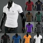 Mens Short Sleeve Polo Shirts Casual Sports T-Shirt Summer Slim Fit Sleeve Tops