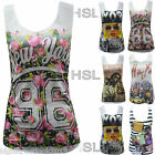 New Womens Ladies New York Glam Print Vest Tank Summer Vest T Shirt Top size8-14