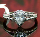 "Engagement Wedding Swarovski ""Pure Brilliance"" Zirconia Pear Ring Platinum / 925"