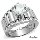 3.25 CT ROUND CUT CZ STAINLESS STEEL WIDE BAND ENGAGEMENT RING WOMEN'S SIZE 5-10