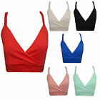 Ladies Womens Cropped Wrapover Fitted Plain Strap Sexy Crop Bra Vest Top Bralet