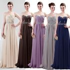 GK Strapless Long Chiffon Bridesmaid Evening Prom Dress Formal Party Ball Gowns