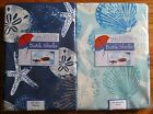 MARINA & DARK OCEAN BATIK SHELL Fabric Patio Umbrella Hole Tablecloth Zipper NIP