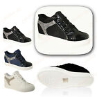 Womens Ladies Gusty Stripe Diamantes Flat Lace Up High Top Trainers Shoes 3-8