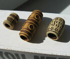 5 or 10 antique burly wood effect dreadlock hair beads 3 styles 5,6 or 7mm hole