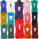 Womens Plus Size Cowl Neck Stretch Contrast Layer Insert Sleeveless Tops 16-26