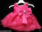 Hot Pink Christening Pageant Flower Girl Bridesmaid Diamante Party Dress 0-24m