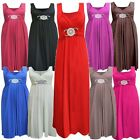 Womens Buckle Belted Plus size Ladies Tie Back Long Evening Maxi Dress 8-26