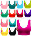 Women PADDED with Lace Seamless Crop Top Vest SPORTS BRA Bandeau Comfort Comfy