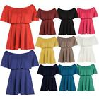 Womens Off Shoulder Peplum Frill Tops Laidies Flared Ponte Skater Mini Dress