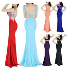 New Womens Sexy V Style Backless Long Bridesmaid Evening Prom Slim Bodycon Dress
